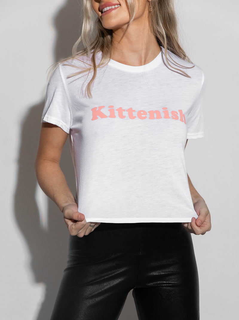 KITTENISH WHITE TEE WITH BABY PINK WRITING