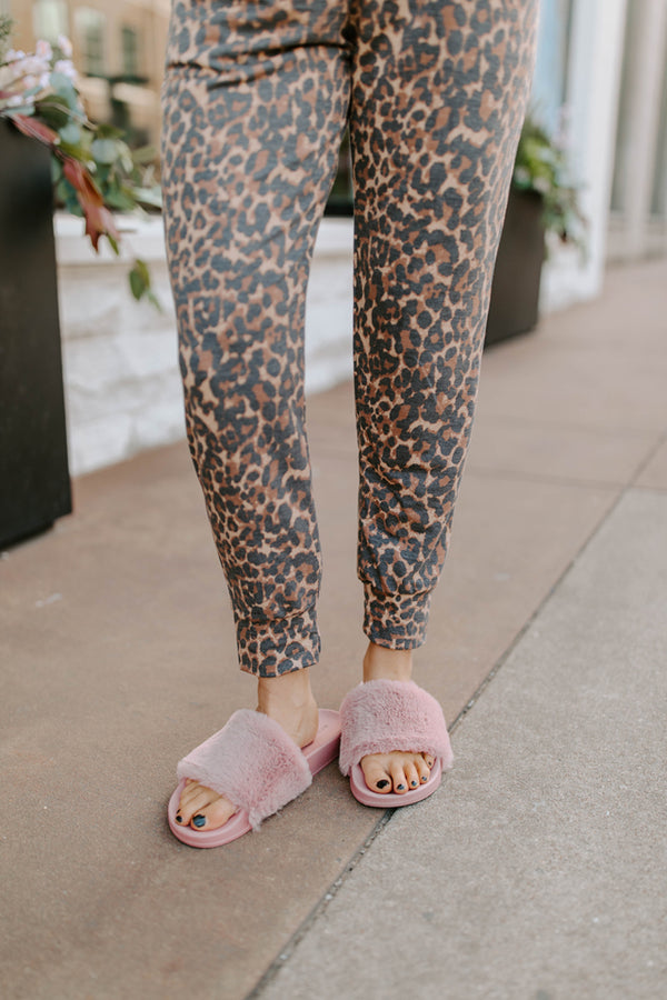 FAUX FUR SLIDES IN MAUVE