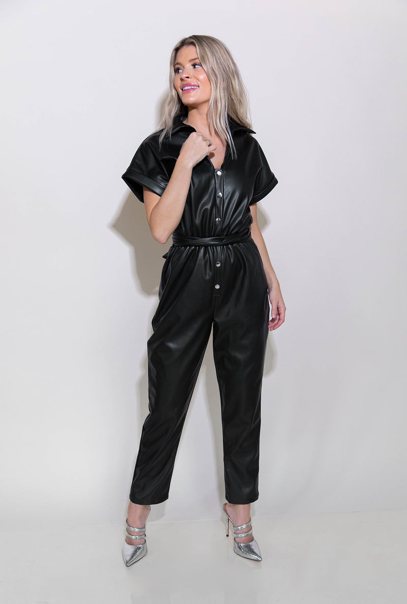 BAD B LEATHER JUMPSUIT
