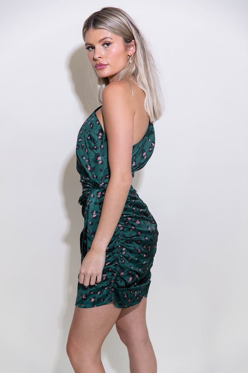 HANA JADE LEOPARD ONE SHOULDER DRESS