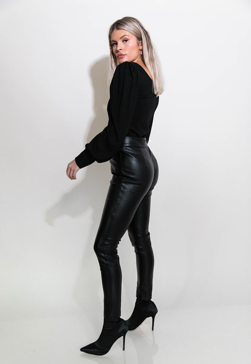 CHRISSA LACE UP LEATHER PANTS