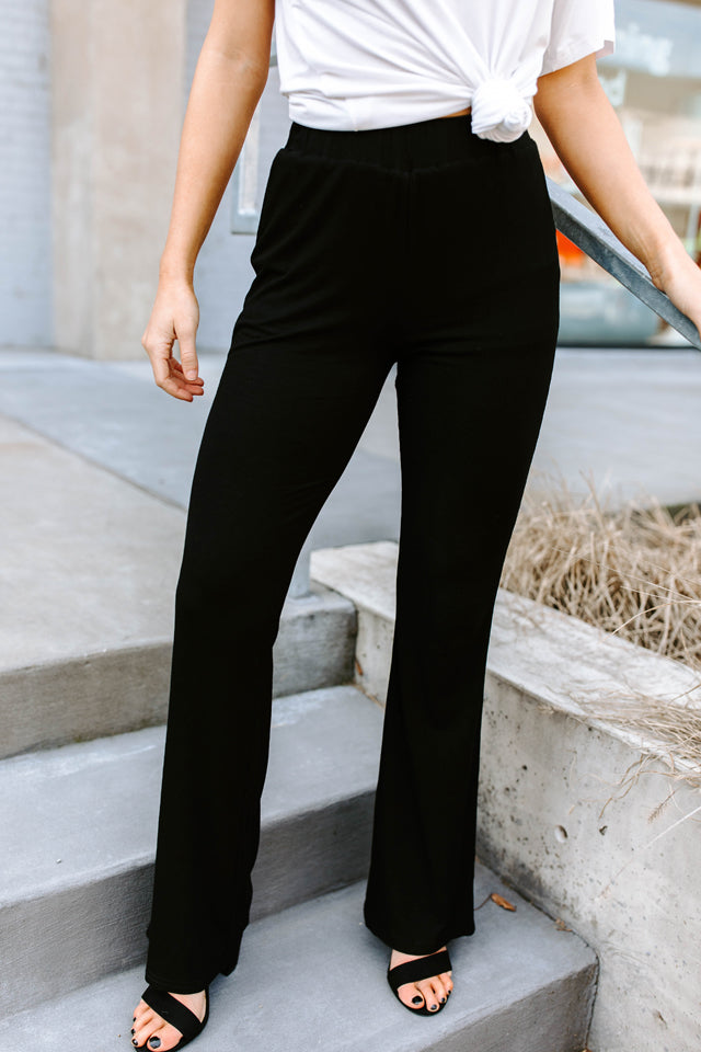 TANNER BLACK RIBBED HIGH WAISTED PANTS