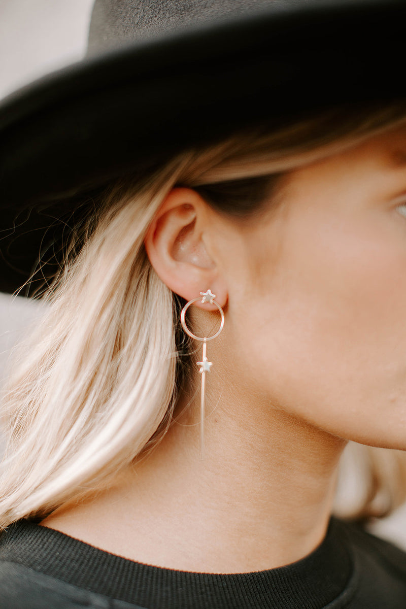 GOLD DIPPED STAR DROP EARRINGS