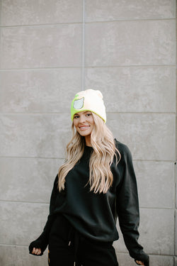 NEON YELLOW CAT HEAD BEANIE