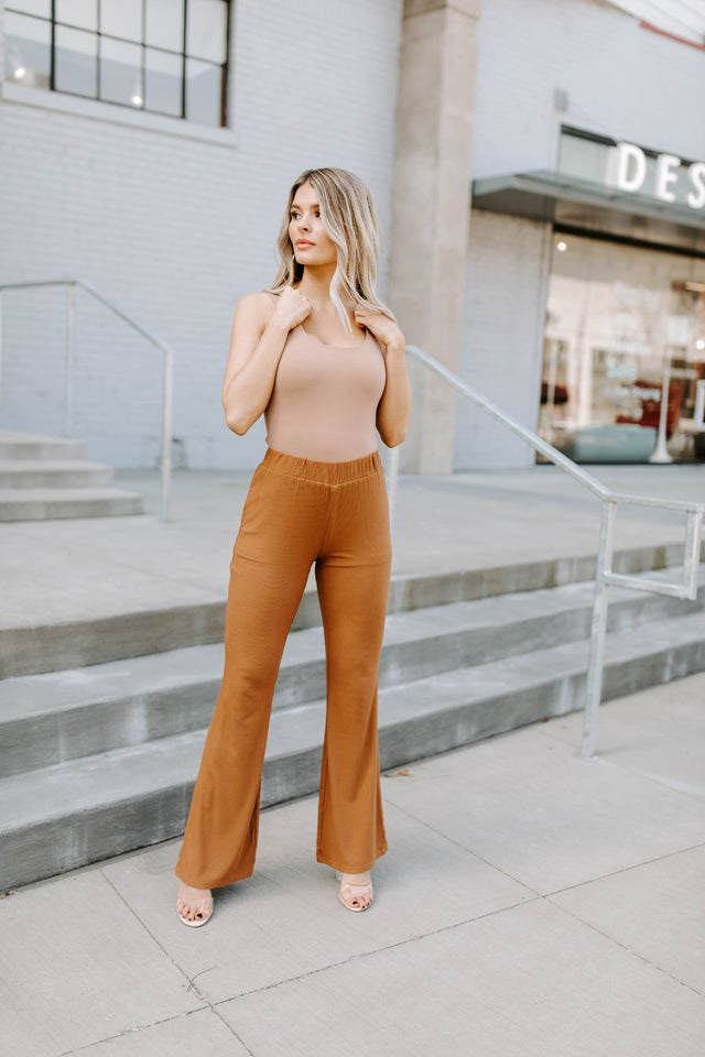 TANNER SUNSET RIBBED HIGH WAISTED PANTS