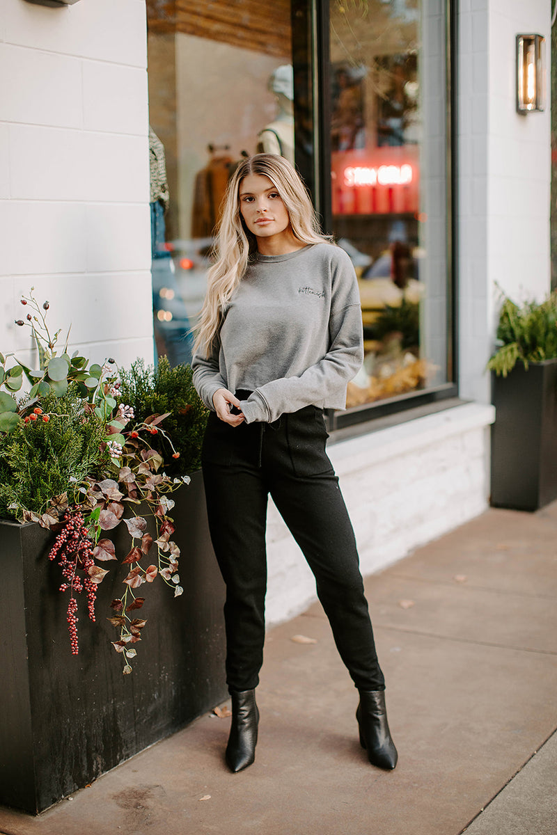 KITTENISH CHARCOAL CROPPED SWEATSHIRT