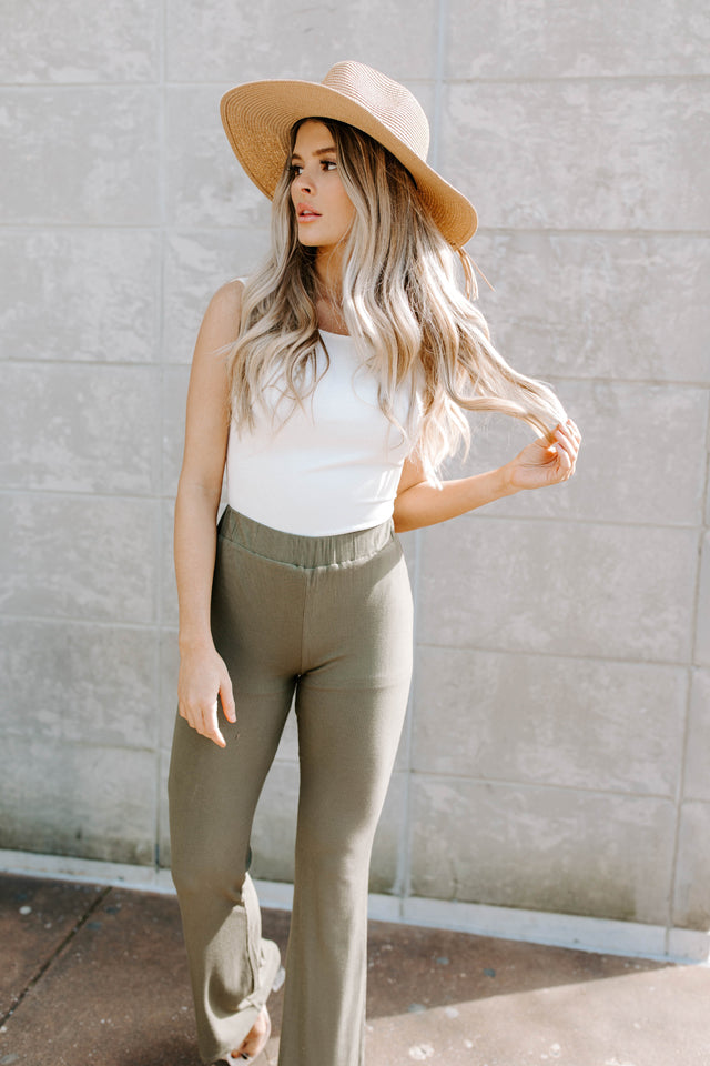 TANNER PALM GREEN RIBBED HIGH WAISTED PANTS