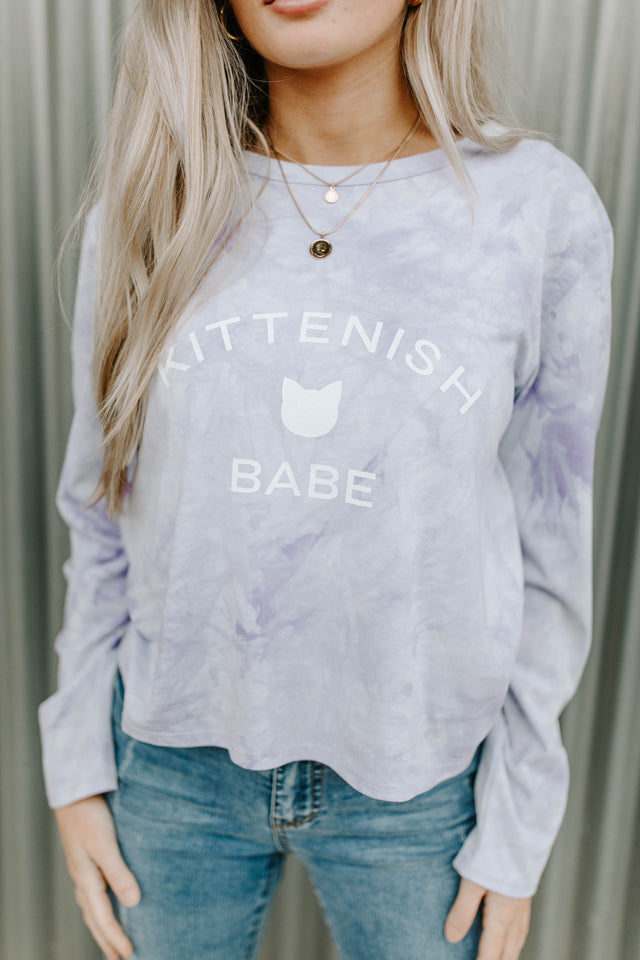 KITTENISH BABE TIE DYE LONG SLEEVE TEE PURPLE