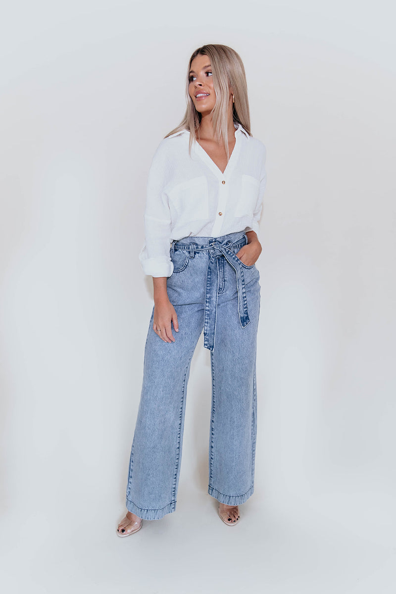 RETRO BABE HIGH WAISTED FLARE DENIM JEANS