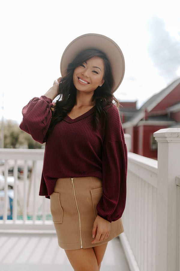 LILIANA BURGUNDY SWEATER