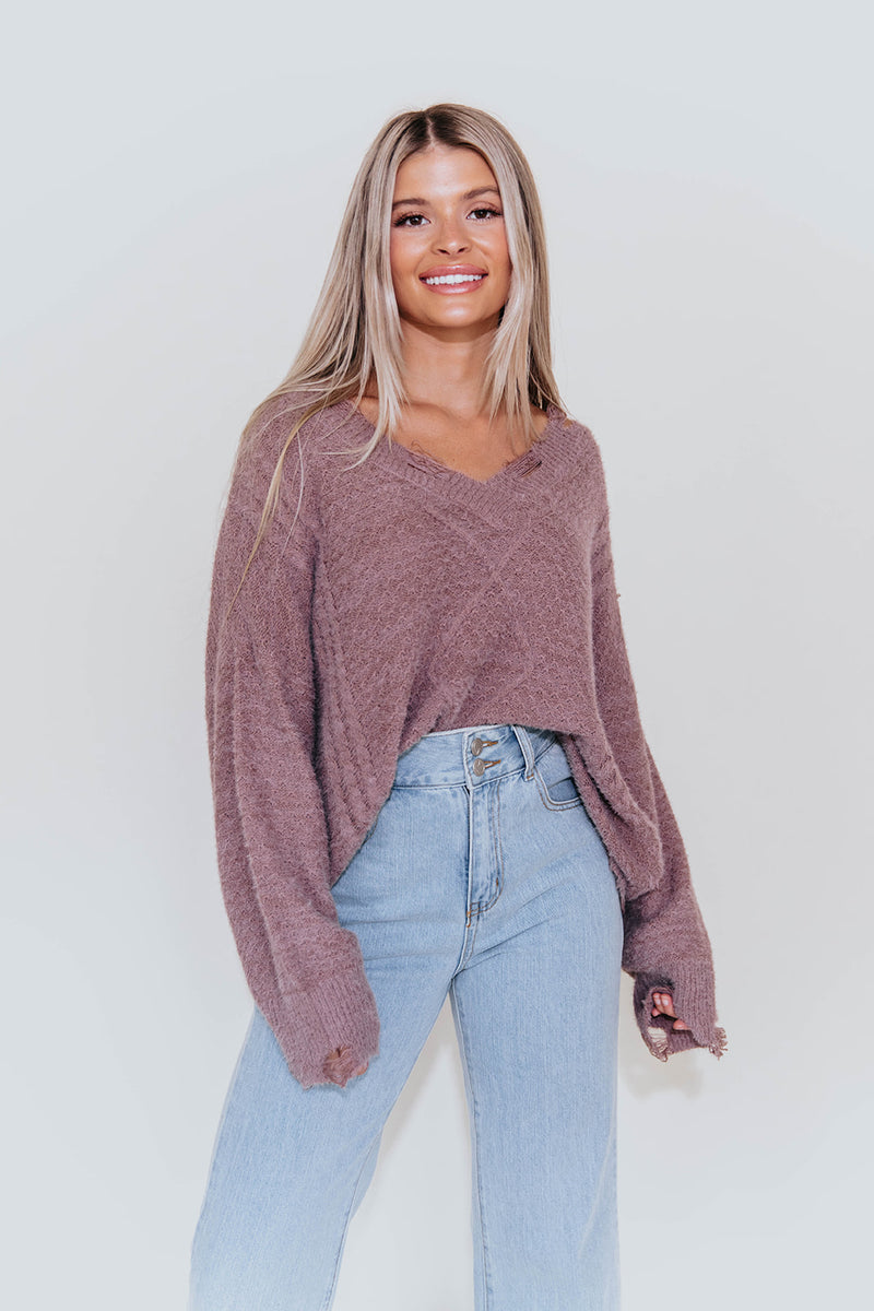 MOLLIE MAUVE DISTRESSED SWEATER