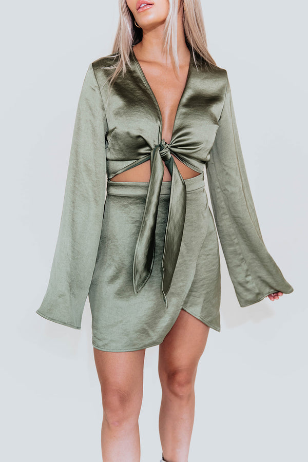 ISABEL OLIVE SATIN DRESS