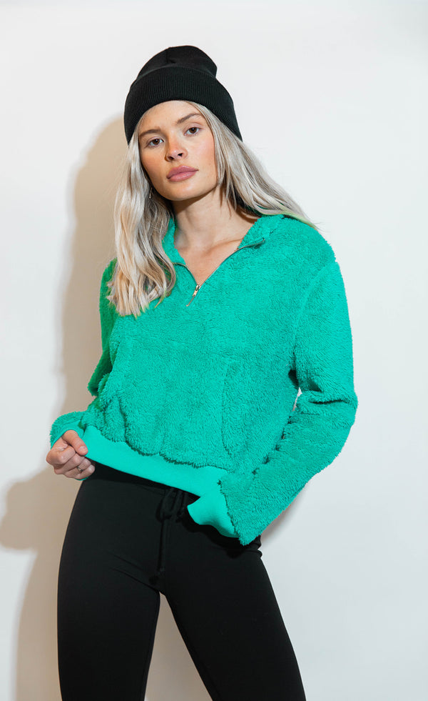 JADE CROPPED SHERPA PULLOVER