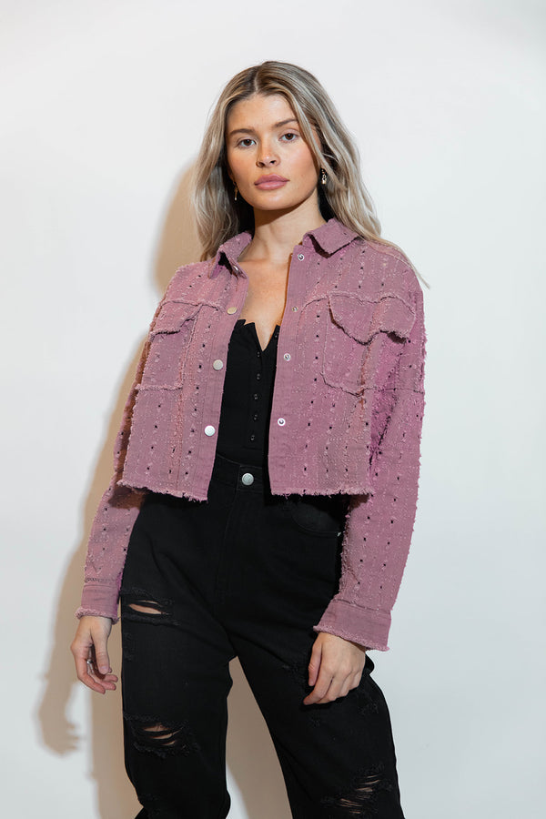 OLIVIA EYELET JACKET IN MAUVE