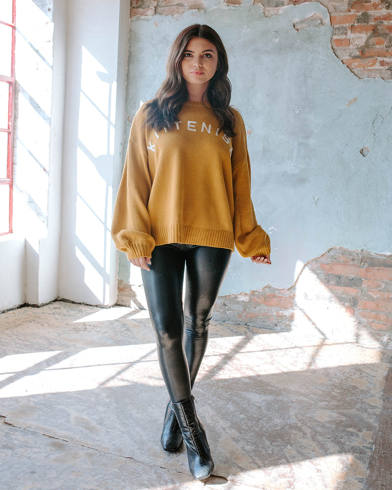 COMFY AS CHIC MUSTARD LOGO SWEATER