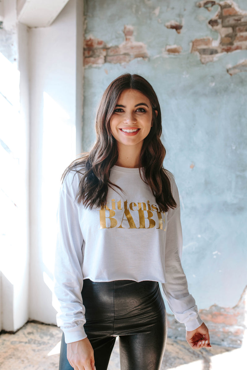 KITTENISH BABE GOLD FOIL LONG SLEEVE TEE