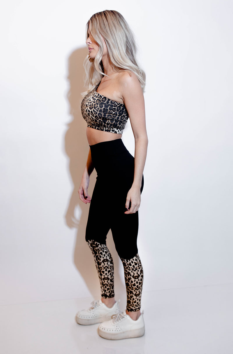 DREYA LEOPARD ONE SHOULDER SPORTS BRA