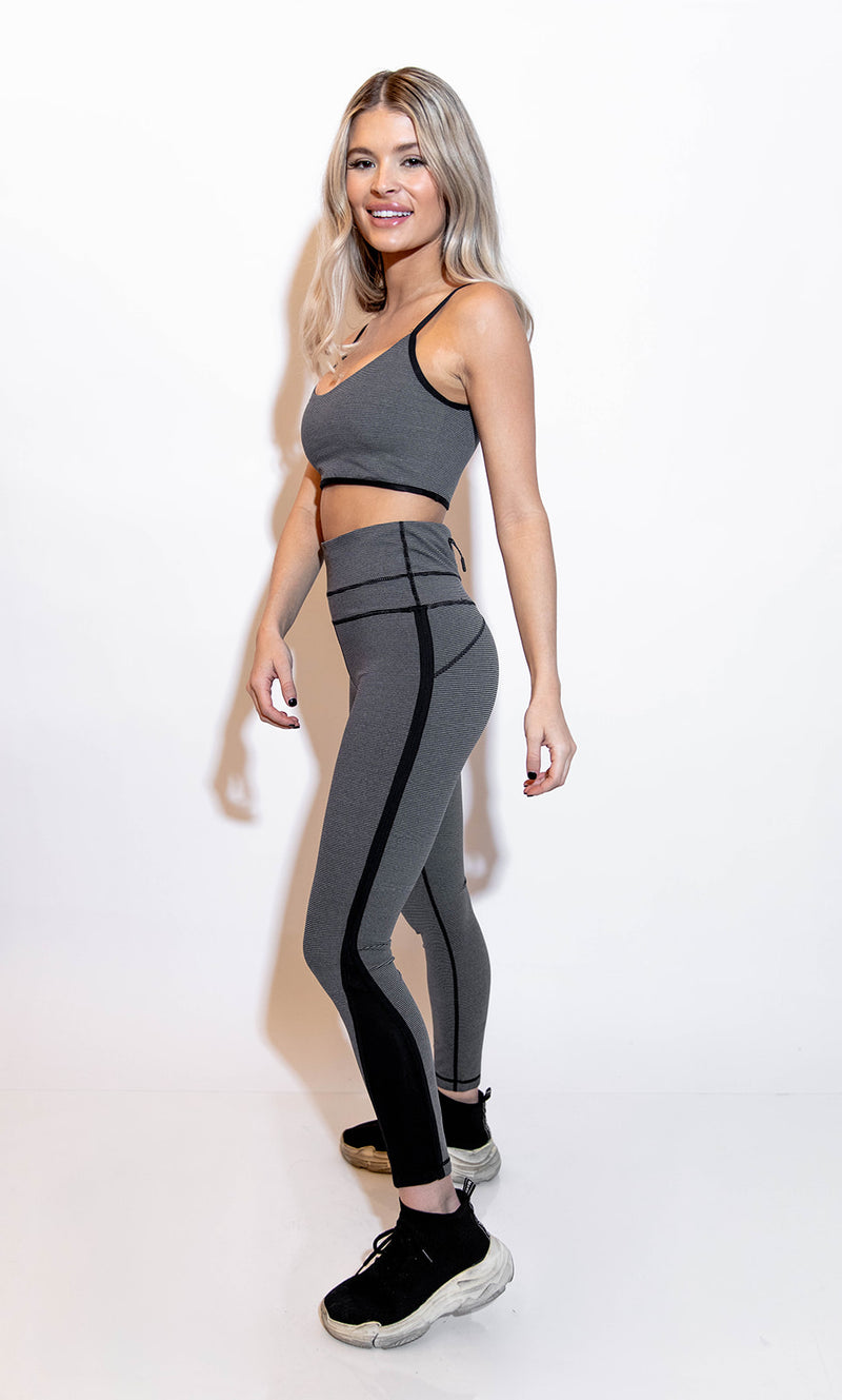 MILLIA BLACK AND GREY STRIPE SPORTS BRA