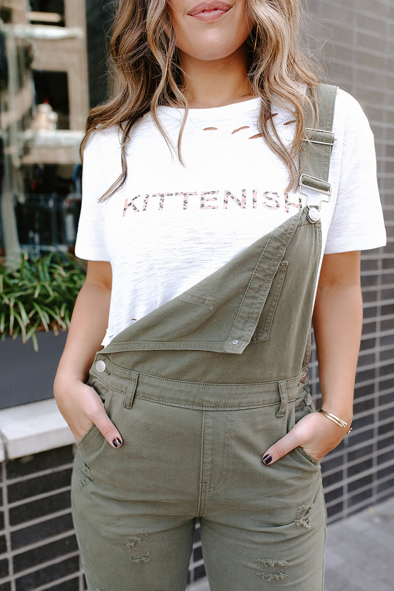 KITTENISH LEOPARD LOGO DISTRESSED TEE