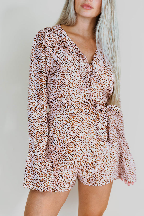 OAKLYN BLUSH LEOPARD LONG SLEEVE ROMPER