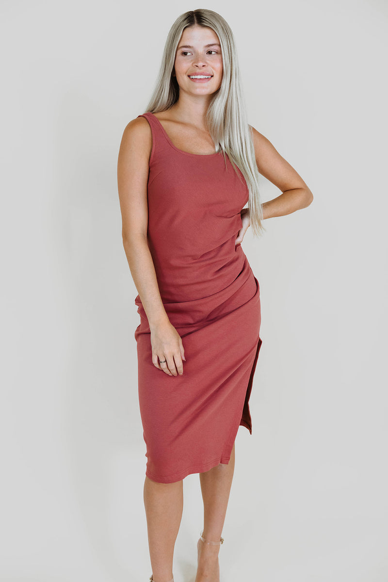 BRIELLE MAUVE MIDI DRESS