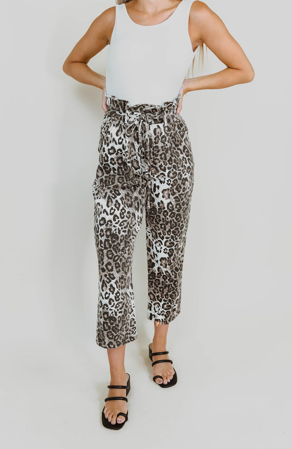 KARA LEOPARD DENIM PANTS