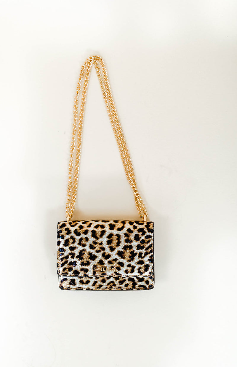 LEOPARD CHAIN CROSSBODY PURSE
