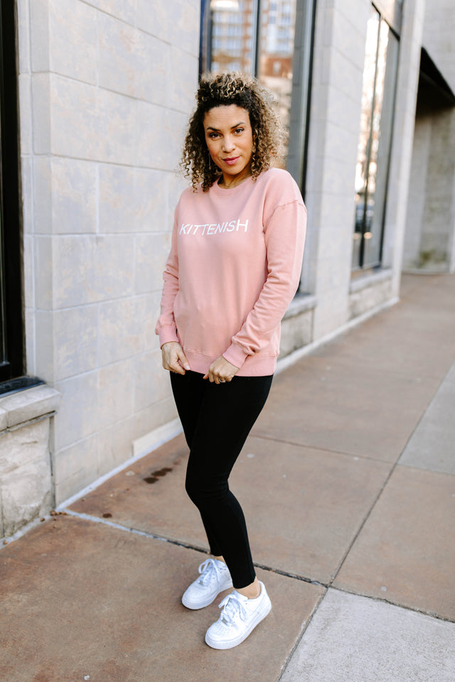 KITTENISH LOGO SWEATSHIRT IN MAUVE