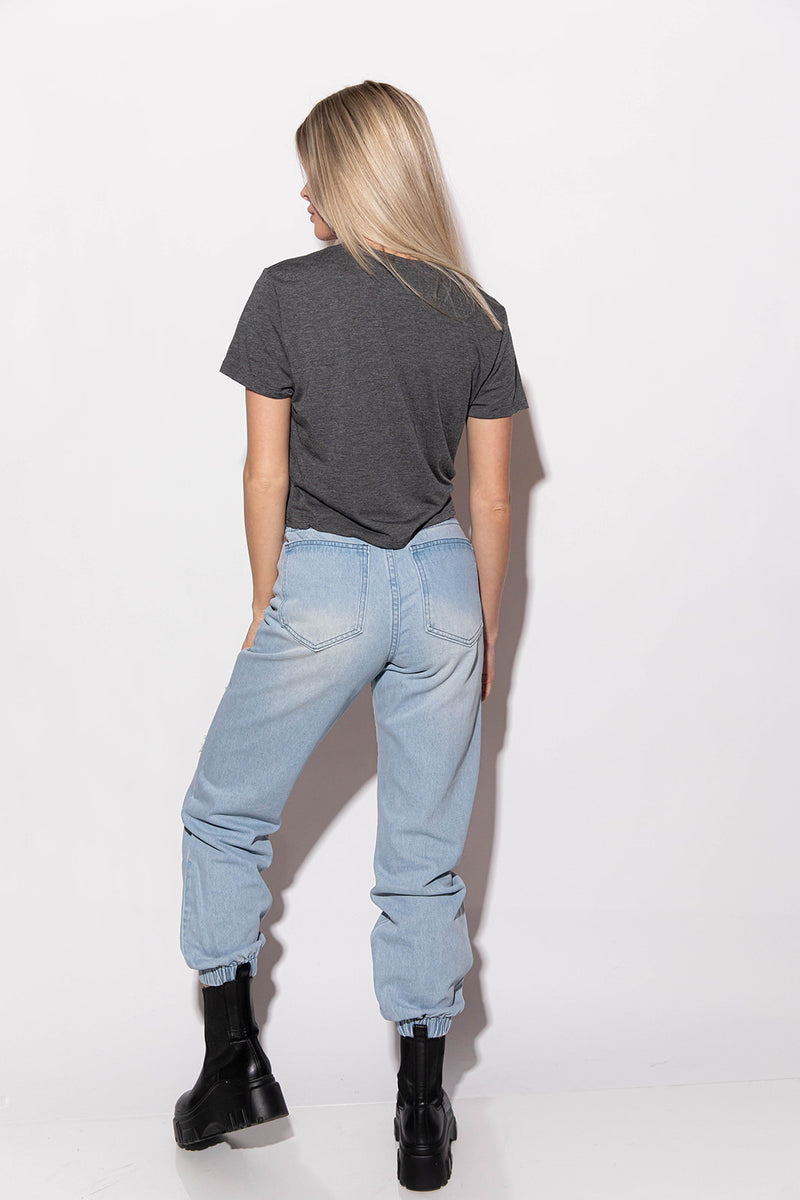ANSLEY DISTRESSED DENIM JOGGERS