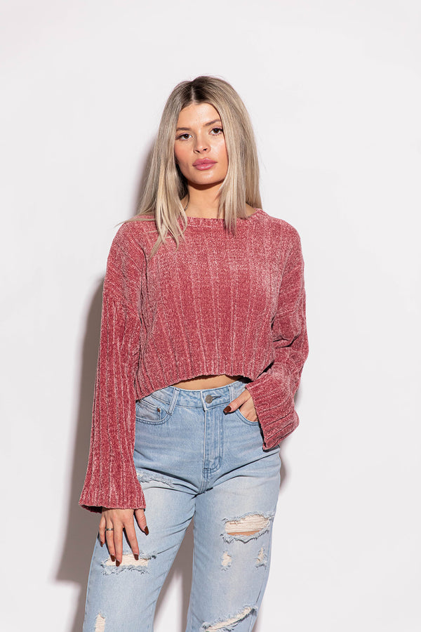 MISS THANG SEMI-CROPPED CREWNECK SWEATER