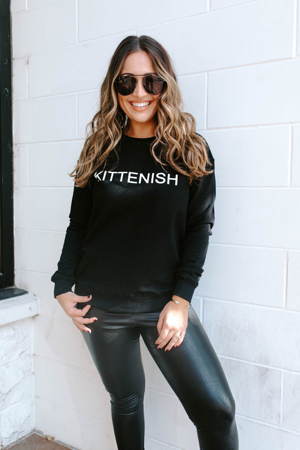 KITTENISH LOGO SWEATSHIRT IN BLACK