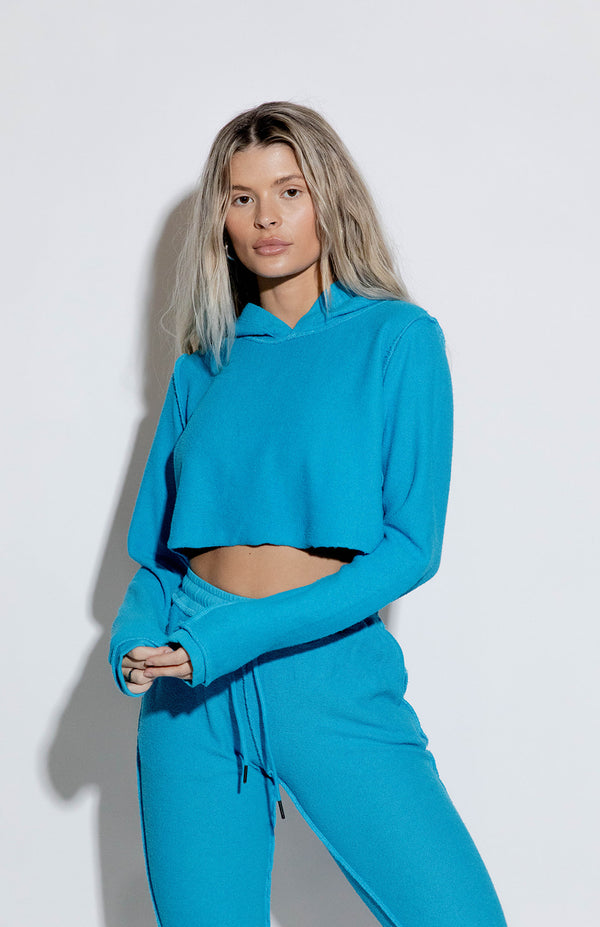 DALLAS TURQUOISE CROPPED HOODIE
