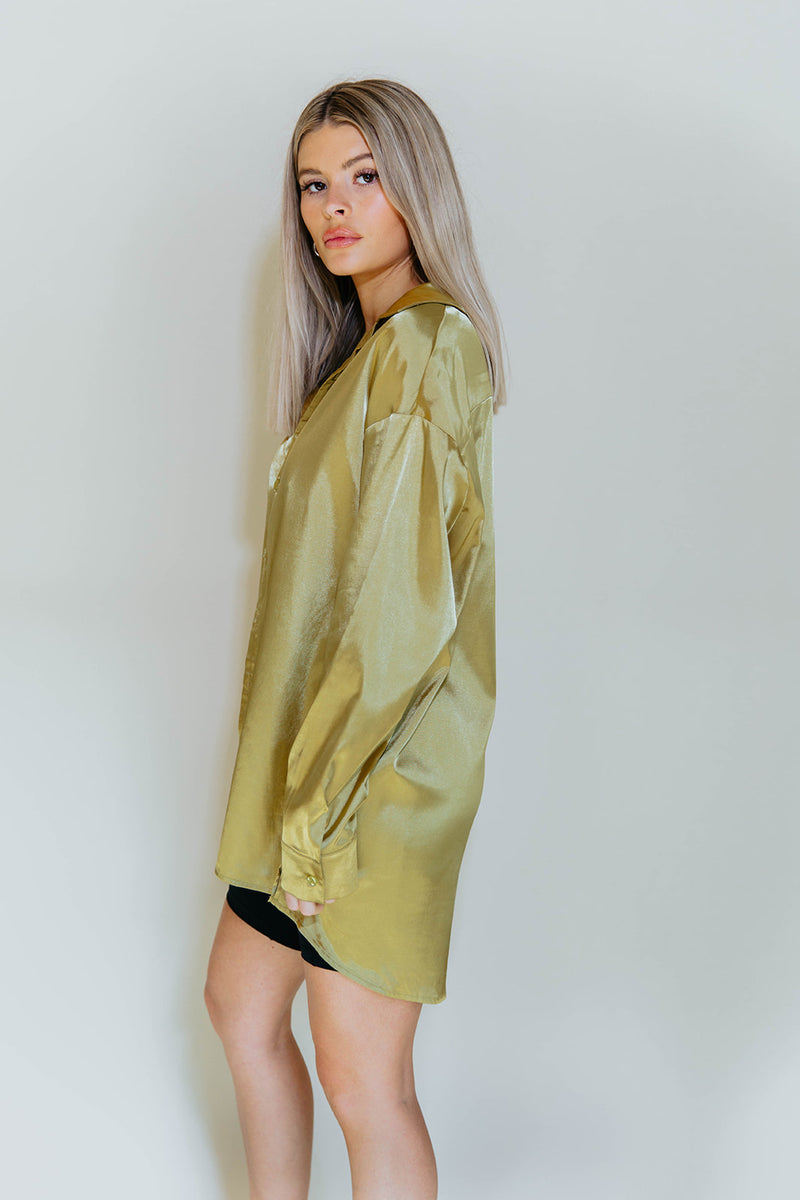 CHIC GOLD SHIRT DRESS