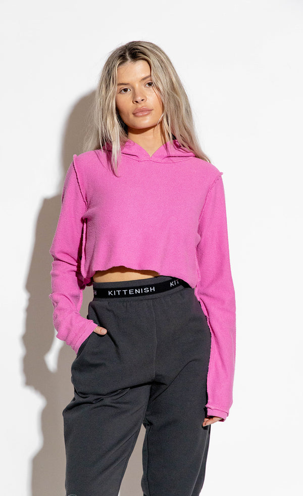DALLAS ORCHID CROPPED HOODIE