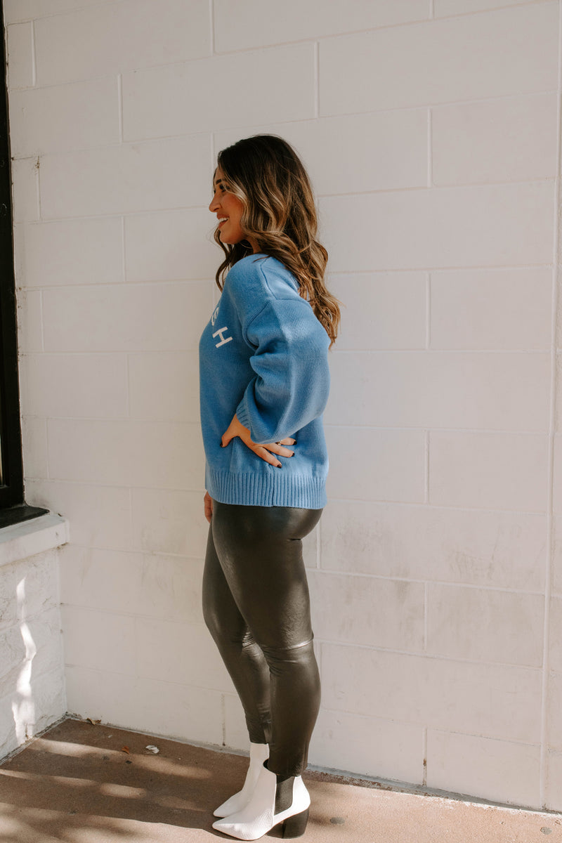 COMFY AS CHIC BLUE LOGO SWEATER
