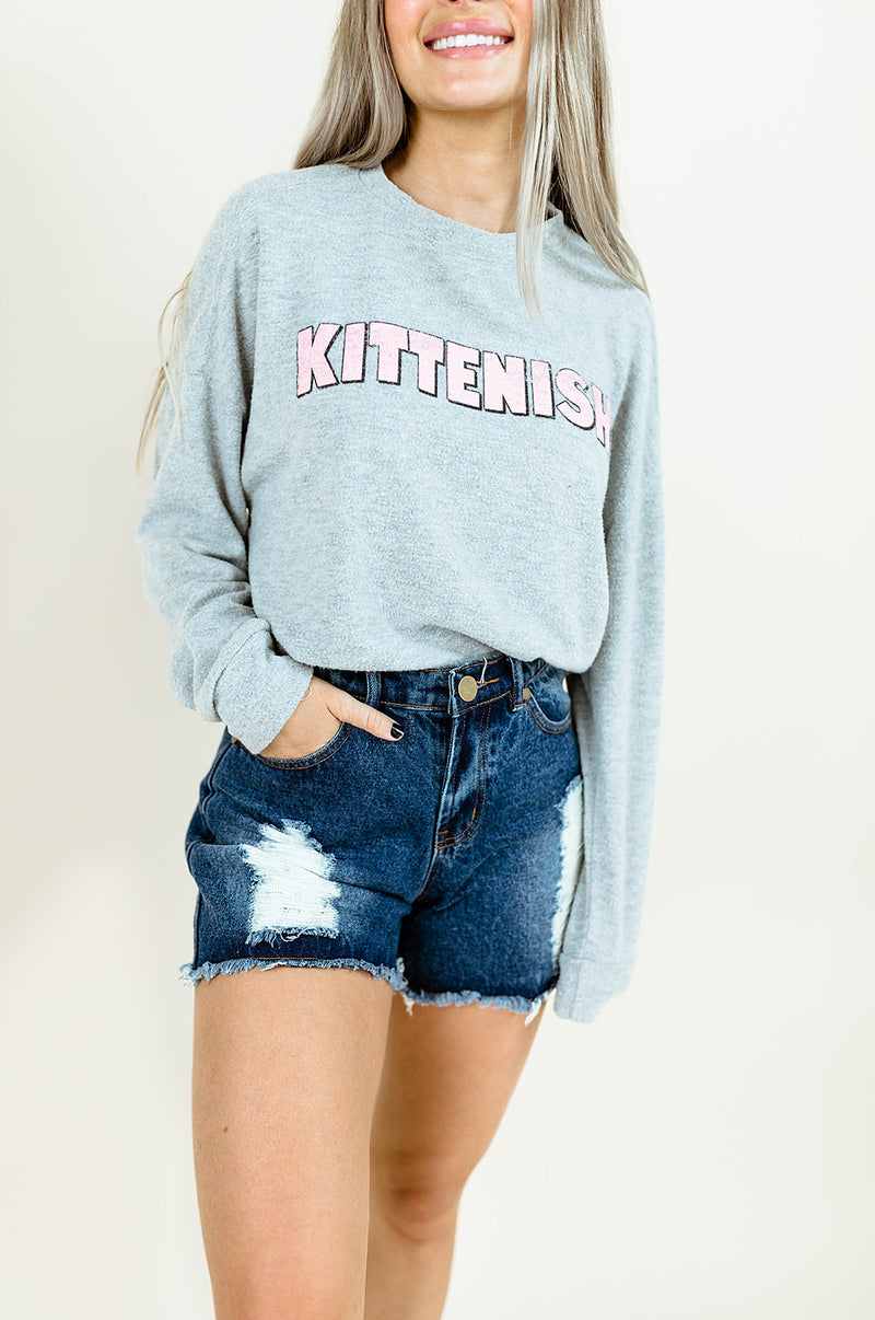 BUBBLY KITTENISH LOGO LIGHTWEIGHT SWEATSHIRT