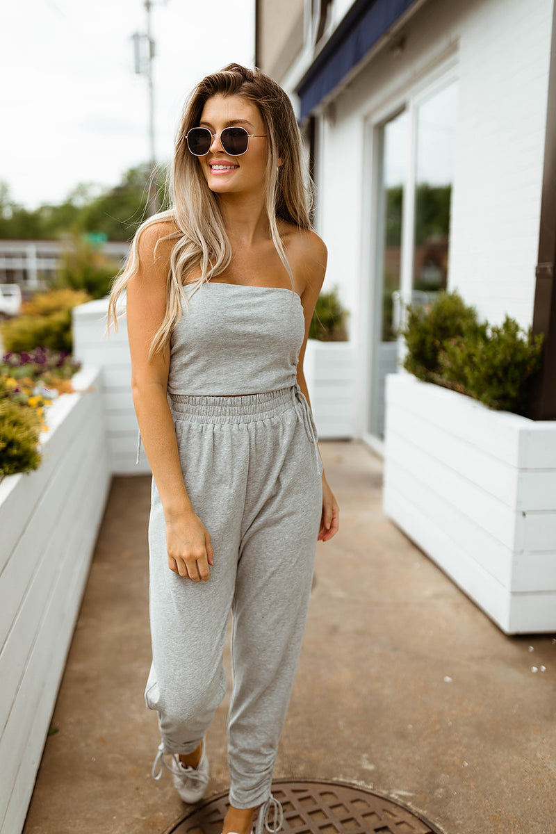 TOPANGA HEATHER GREY BANDEAU SET