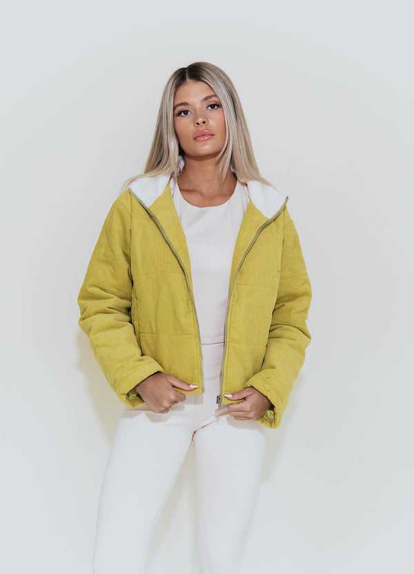 LARA LEMON CORDUROY PUFF JACKET