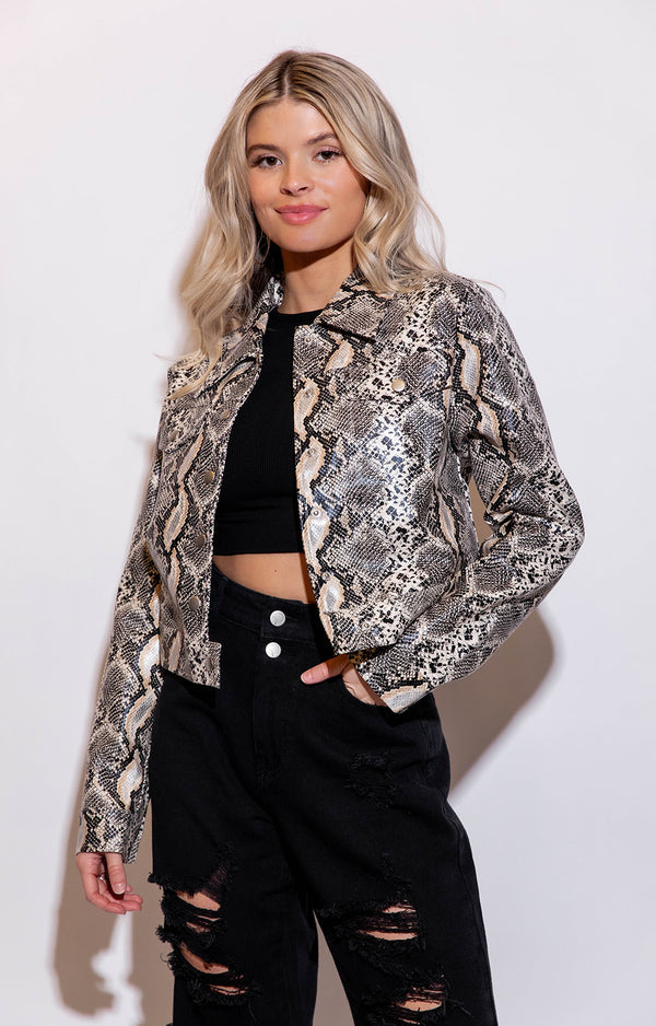 SIERRA SNAKE PRINT FAUX LEATHER JACKET