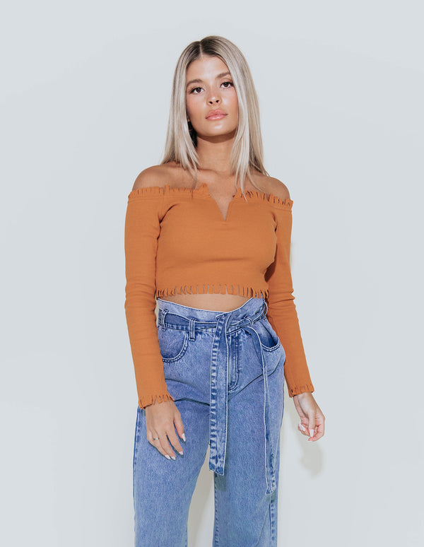 REYA OFF SHOULDER RIBBED TOP