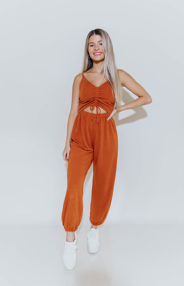ESSENTIAL CUTOUT JUMPSUIT IN PUMPKIN