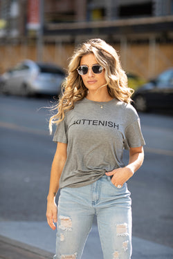KITTENISH LOGO TEE IN GREY