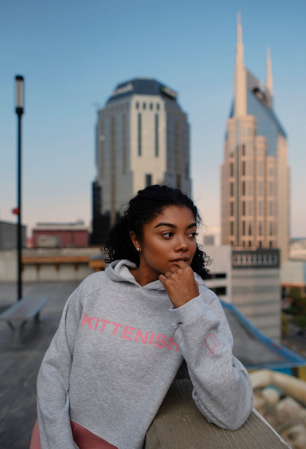 KITTENISH LOGO HOODIE IN GREY