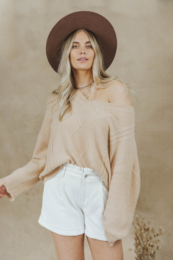 MOLLIE TAN DISTRESSED SWEATER