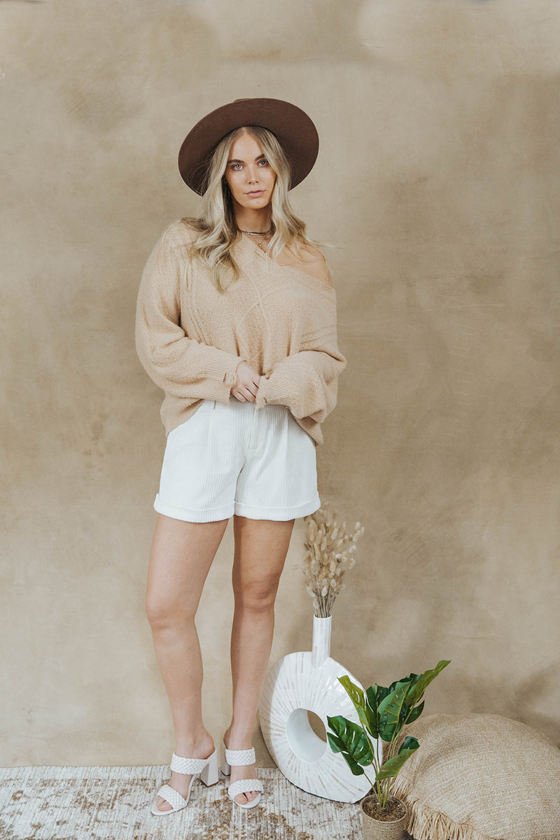 ARIA CREAM RUFFLE SHORTS