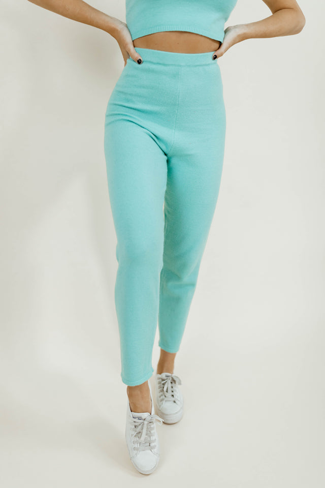 MIAMI TIFFANY BLUE KNIT PANTS