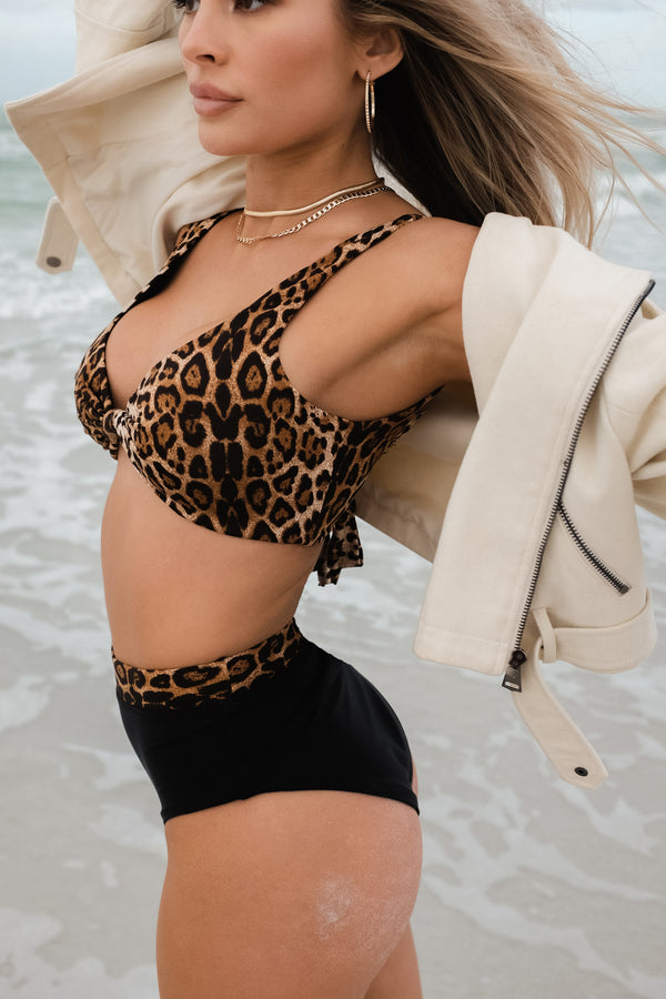 CANCUN BLACK AND LEOPARD BIKINI BOTTOMS