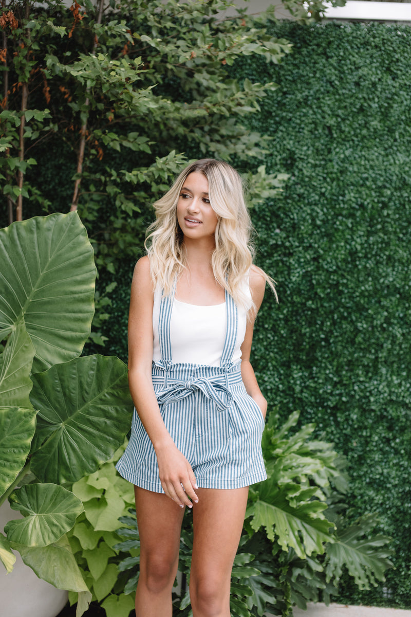 BEKAH STRIPED OVERALL SHORTS