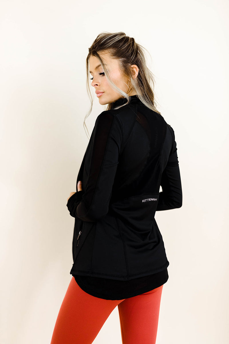 ALEX ZIP UP ACTIVE JACKET IN BLACK
