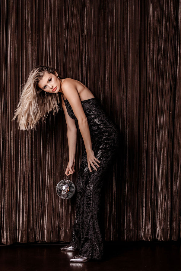 MANHATTAN BLACK SEQUIN JUMPSUIT